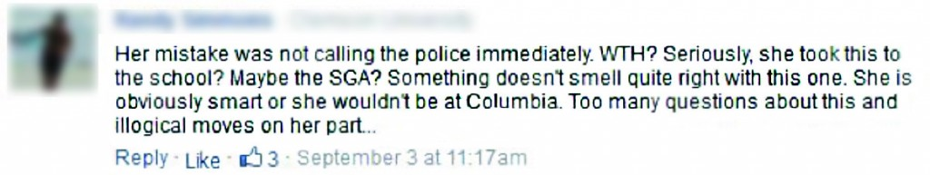 An individual blamed the victim in a comment concerning Emma Sulkowicz. Comment taken from Huffington Post article