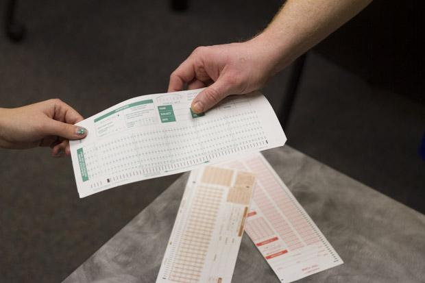 Professors are now required to provide scantrons to students.Photo by Randy Rataj