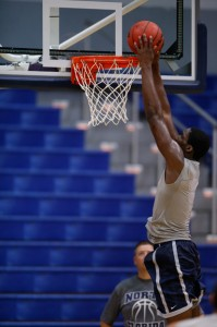 Romelo Banks aims for a slam dunk.