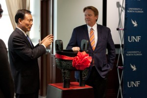 Zhang gave Delaney a gift of a Chinese Ding, a replica of the ceremonial cauldron from the Zhou dynasty. Photo by Joshua Brangenberg