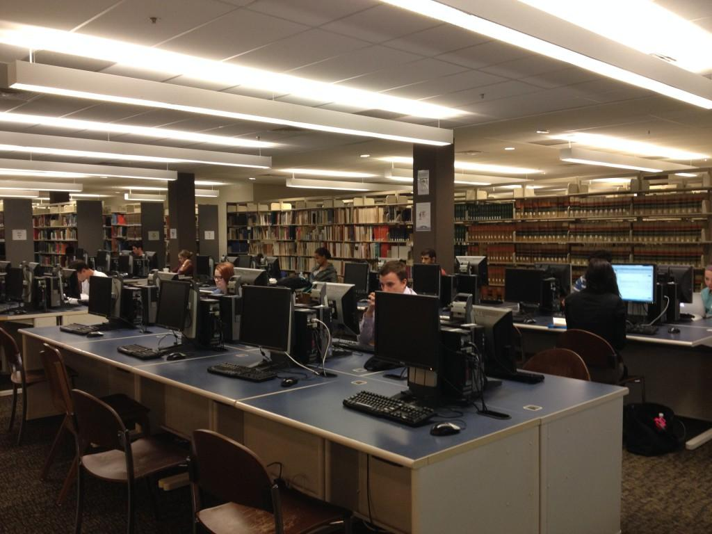 At 8 p.m. on a Tuesday night, many students are still working in the library.Photo by Lydia Moneir