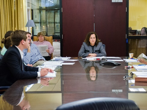 The Student Fee Assessment Committee Chair Shari Shuman speaks to the SFAC. Photo by Robert Curtis