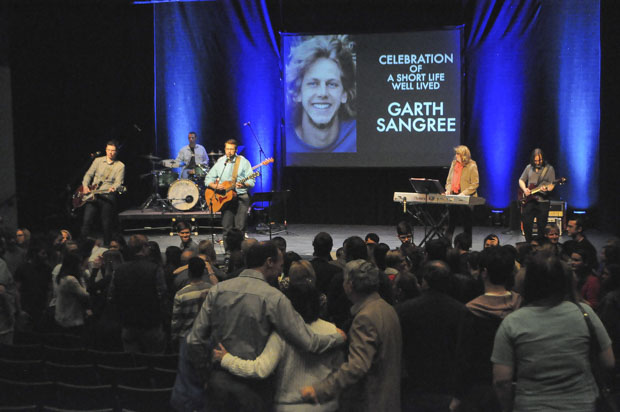 Family, friends, and fellow students attended the memorial to remember the life of Garth Sangree.