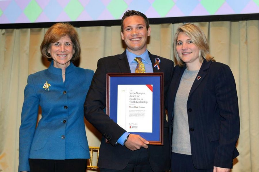 From left to right: Gail McGovern, President and CEO of the American Red Cross; Maxwell Ervanian; Sherri Brown, Senior Vice President of Humanitarian Services Operations.Photo courtesy of the American Red Cross website
