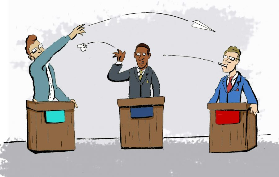 The SG political debate will be held at 6 p.m. in the Osprey Plaza on March 3. Graphic by Michael Salussolia