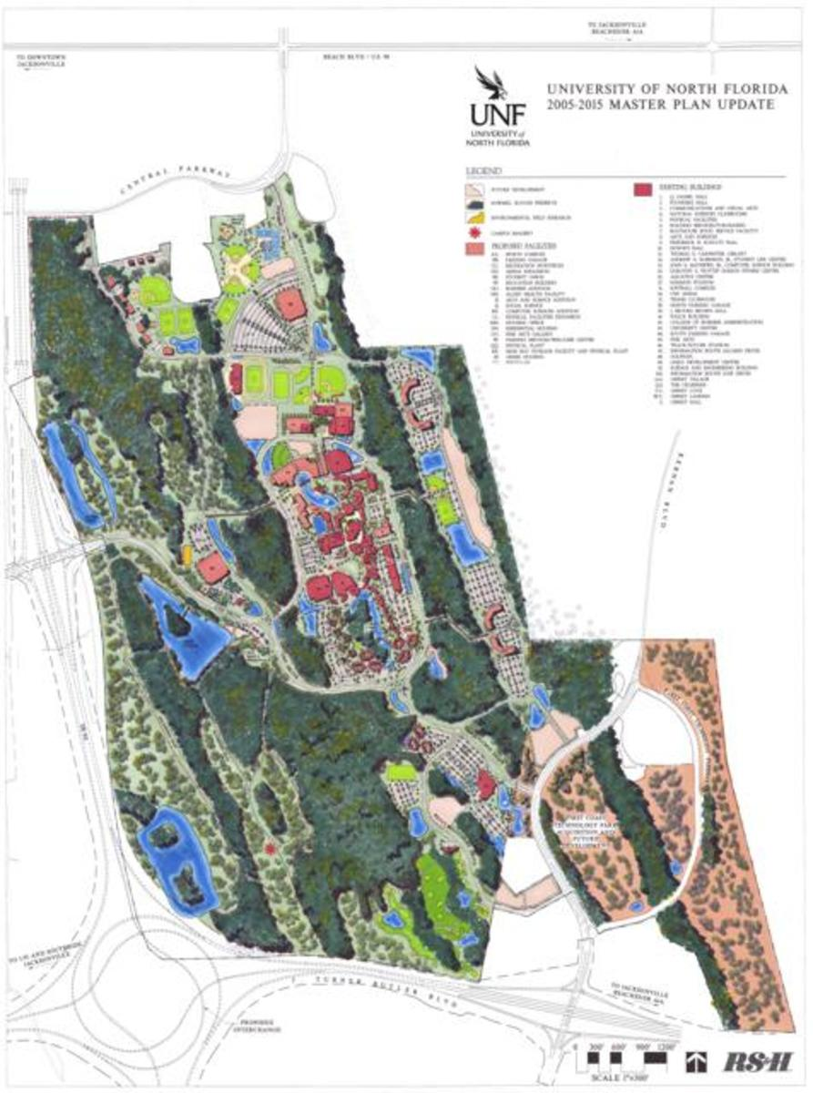 An image of the 2005-2015 Master Plan update. Image courtesy UNF's website