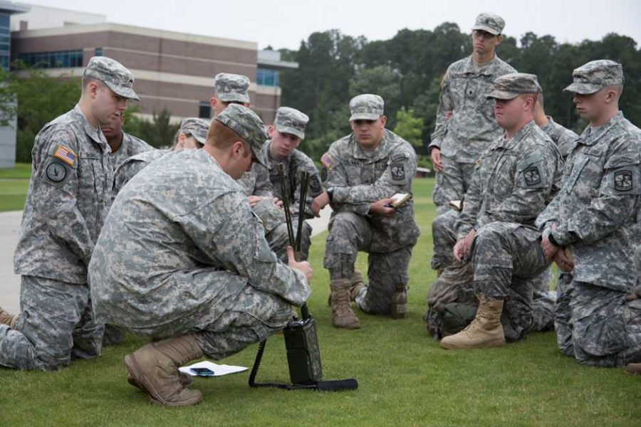 The amphitheater gets camouflaged: ROTC cadets get real world training