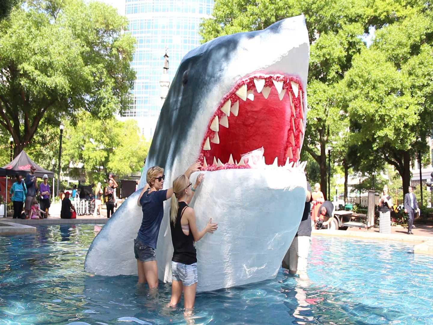 UNF shark sculpture lurks in the water at Hemming Park
