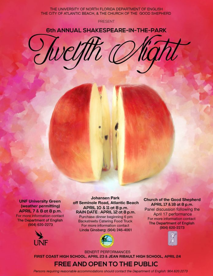 """UNF students will travel around Jacksonville to perform Shakespeare's """"Twelfth Night.""""  Photo courtesy of UNF English Department Facebook"""