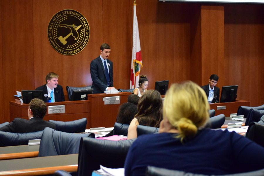 Senate President Chase Baker addresses the 11 voting senators.Photo by Christian Ayers