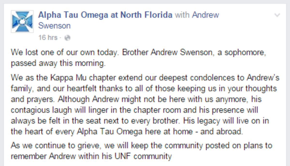 The official Facebook page for Alpha Tau Omega posted about their member's death.Photo courtesy Facebook