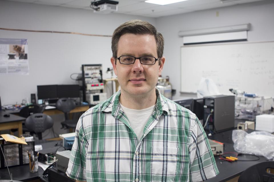 Dr. Daniel Santavicca, Assistant Professor of Physics, is running research for superconducting nanowires. Photo by Michael Hererra