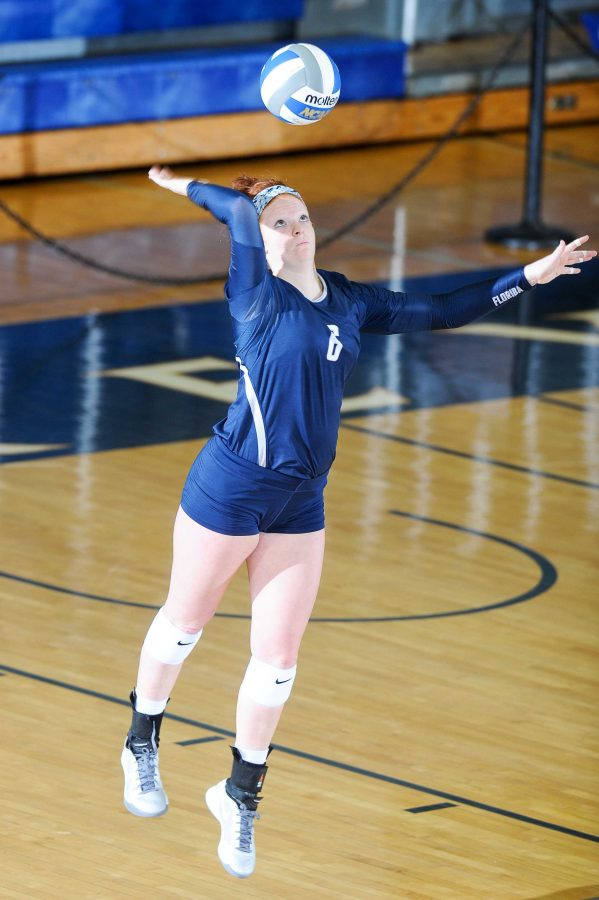 Abby Fesl, Junior, has 338 assists this season. Photo courtesy of UNF Athletics