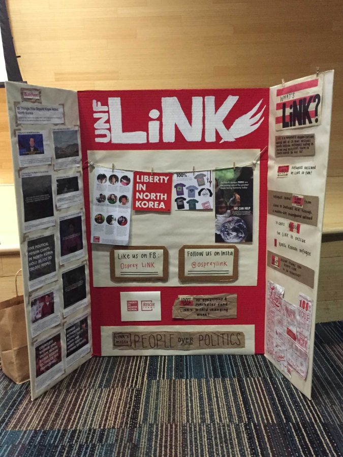 Osprey LiNK, an organization dedicated to helping people in North Korea, brought this informational board to the showing of The Peoples Crisis- a documentary showing the problems refugees from the country face. Photo by Cassidy Alexander