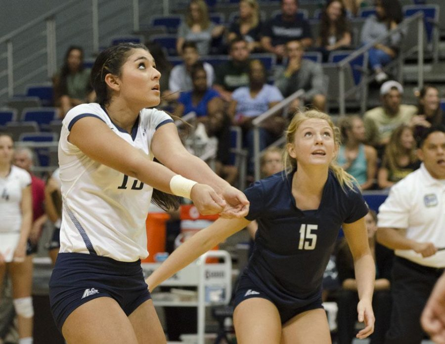 Ospreys Kimberly Ferguson and Ashley LaBorde wait on a pass.   Photo by Ashley Saldana.