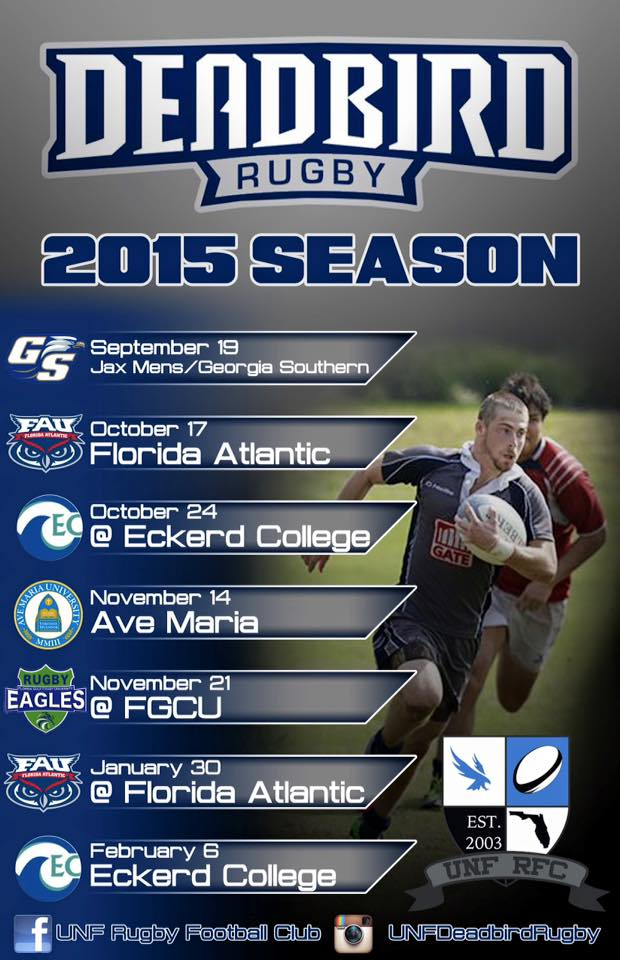 UNF Rugby Football Club's 2015-2016 schedule. Graphic courtesy of Facebook