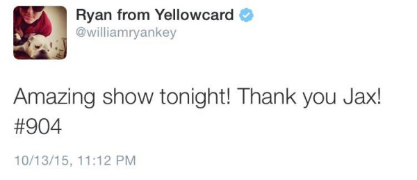 Ryan Key, lead vocalist of Yellowcard, turns to Twitter to thank Jacksonville fans one more time. Image courtesy of Twitter