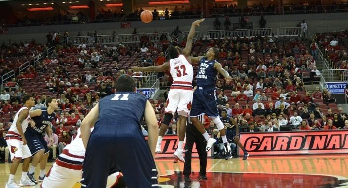 After a competitive first half the Louisville offense exploded in the second past UNF, led by Damion Lee with 24 points.   Photo courtesy Sideline Sports