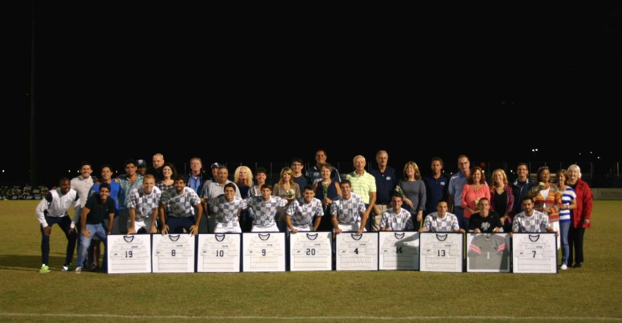 UNF's ten seniors cap off senior night with a 2-0 win.   Photo by Kimberly Appleby