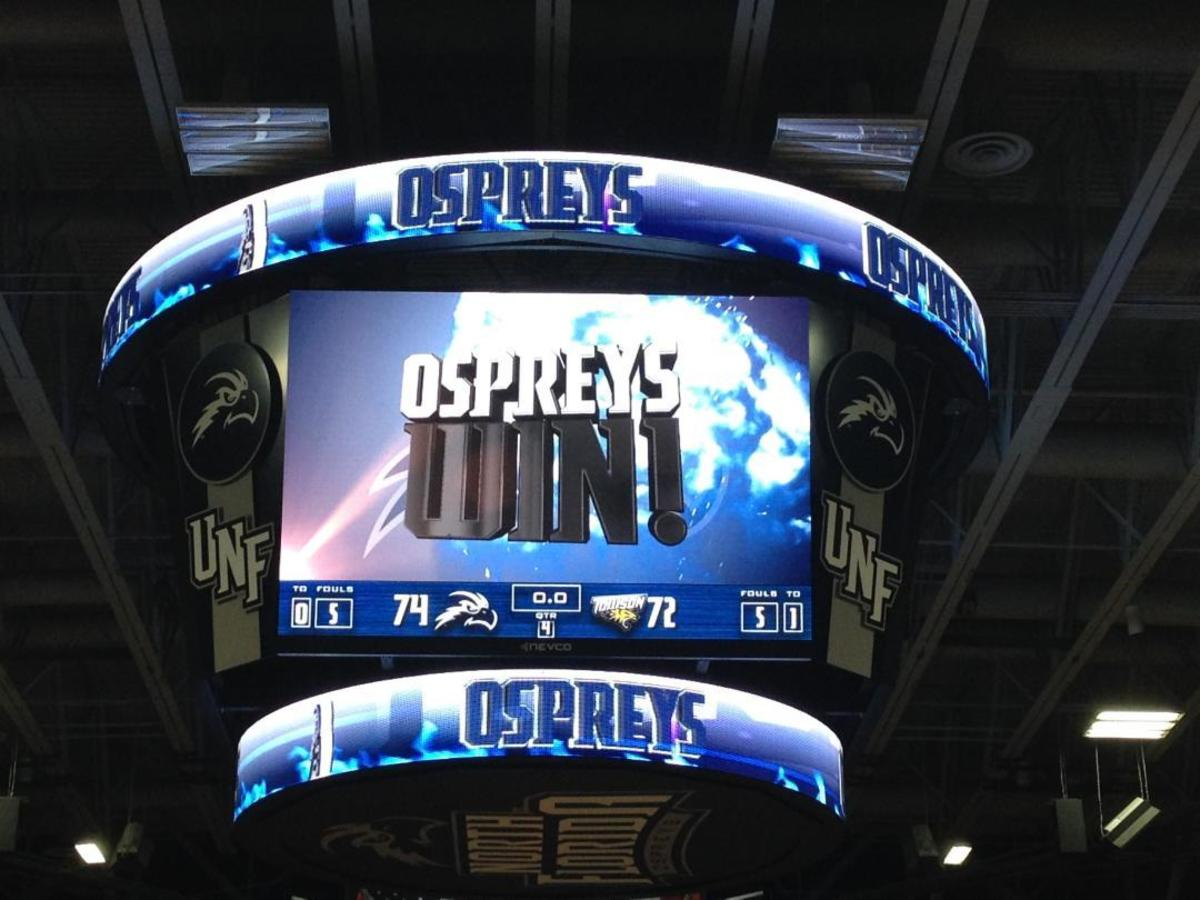 UNF Arena sported its brand new scoreboard for both women's games in the Thanksgiving Classic.   <i>Photo by Al Huffman</i>