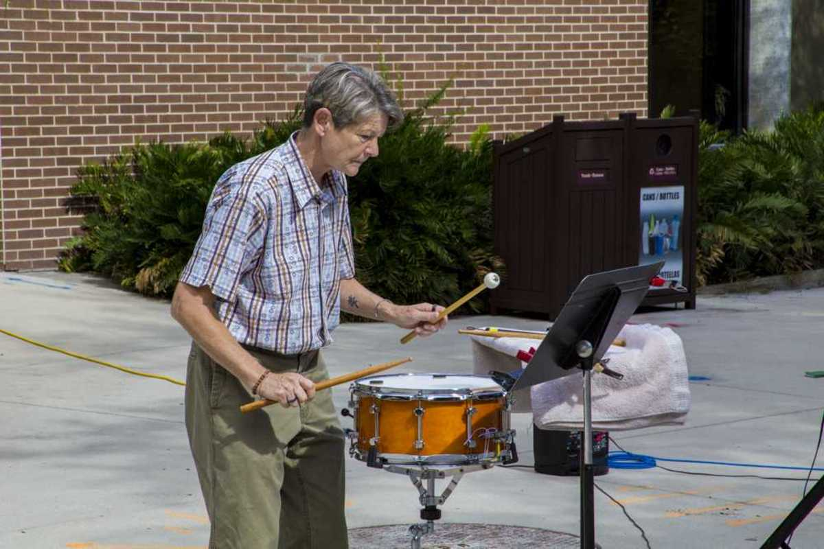 UNF Percussion Ensemble Director Charlotte Mabrey opened the ceremony with a snare drum piece inspired by the work of Henry David Thoreau. Photo by Caleb Moseley