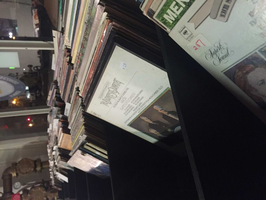 Stacks of vinyl records at Deep Search Records in Riverside.   Photo by Patrick Grabowski