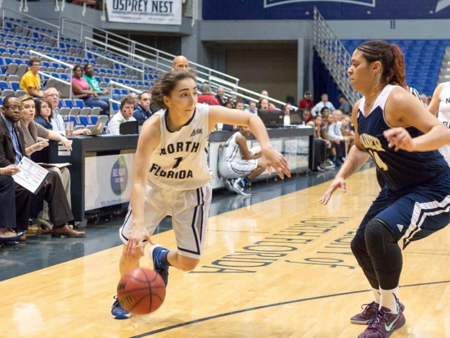 Guard Claire Ioannidis leads the Ospreys in scoring for the season with 13.7 points per game.   Photo by Michael Herrera