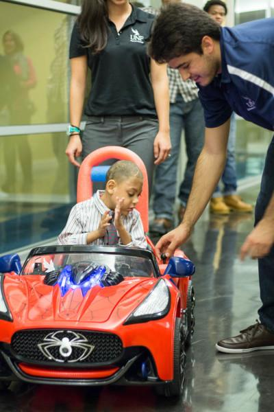 Students placed a sensor in the Spiderman car that disables the vehicle to avoid collisions. Photo by Michael Herrera