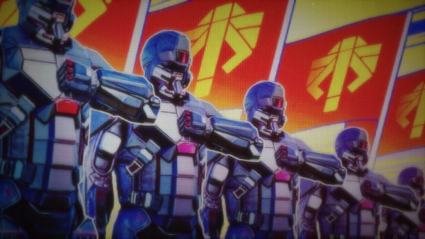 """ADVENT troops ready to """"keep the peace."""" Screenshot by John McCrone."""
