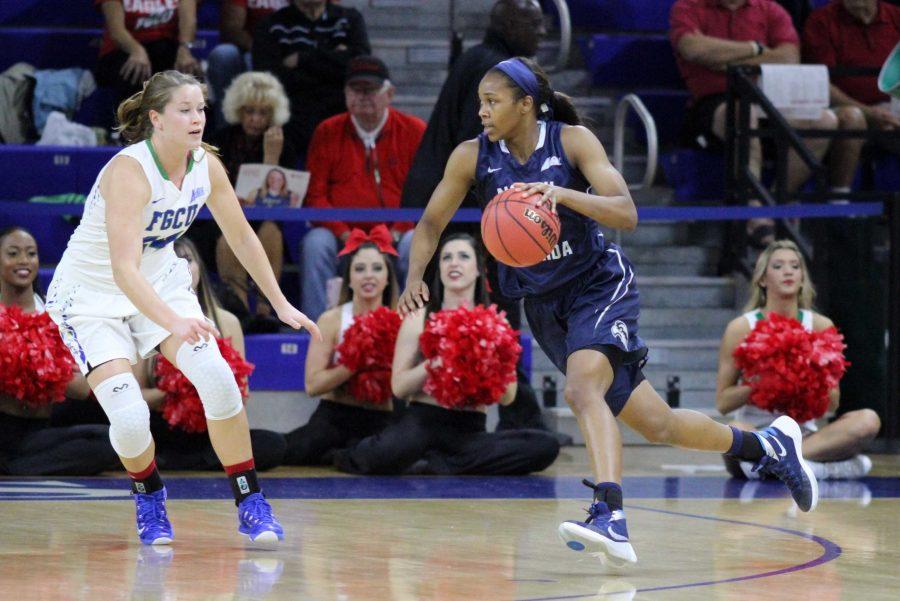 Maiya Rumph makes a drive toward the basket against the Eagles