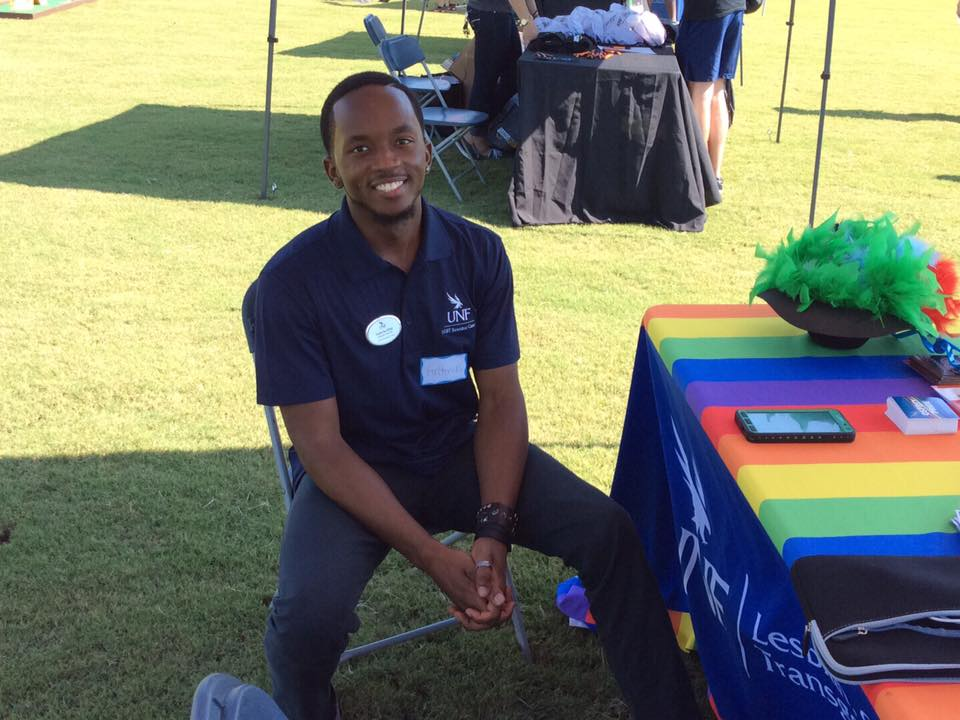 King tabling for the LGBT Resource Center.  Photo courtesy Danae Leake