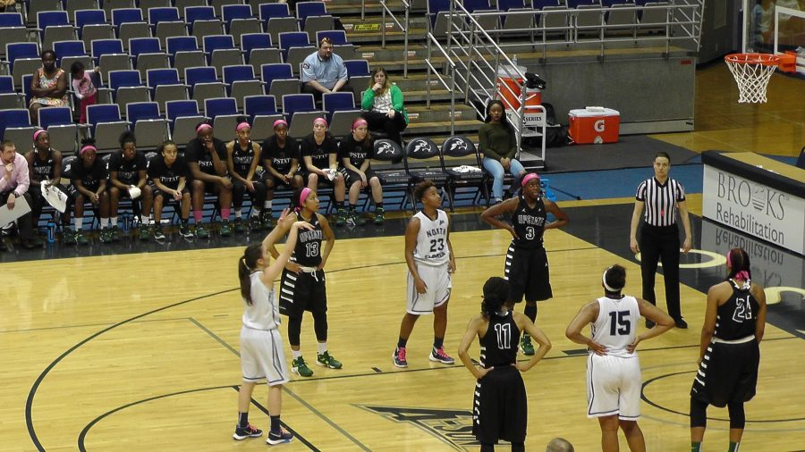 Claire Ioannidis shoots free throws during the Ospreys 75-61 loss.  Photo credit: Joslyn Simmons