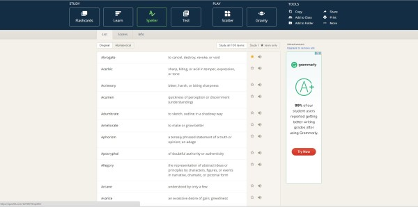 Quizlet is especially handy for online assessments. Screenshot by Andre Roman.