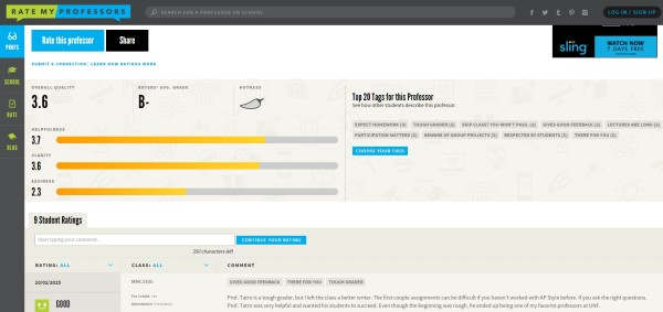 RateMyProfessors has tons of UNF professors on their database to read reviews on. Screenshot by Andre Roman.