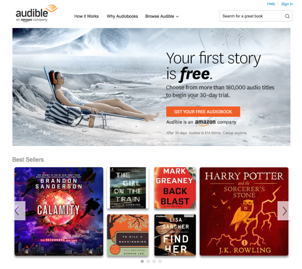 Audiobooks for all! Screenshot by Rachel Cazares.