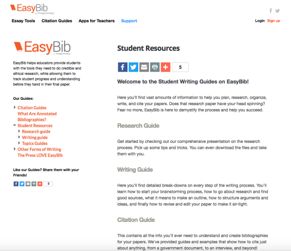 Citing your sources is probably every student's least favorite thing, besides the actual paper. Easybib.com is making our lives a little easier when it comes to essays. Screenshot by Rachel Cazares.