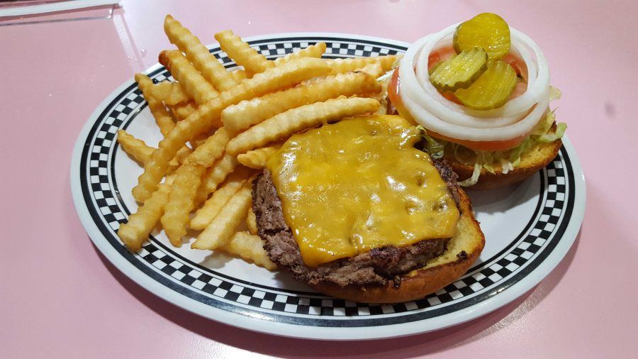 The All-American burger was a must-try at a 50s diner.  Photo by Courtney Stringfellow.
