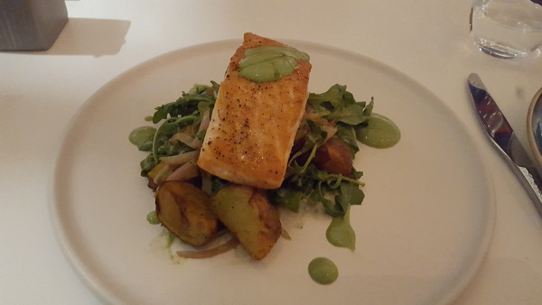 The Pan Seared Salmon is complimented beautifully by potatoes. Photo by Courtney Stringfellow.