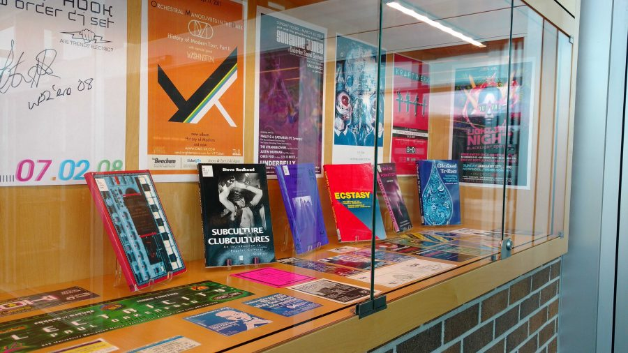 The installation features flyers and ticket stubs that Shurman has collected by going to shows. (Photo by Tierney Harvey)