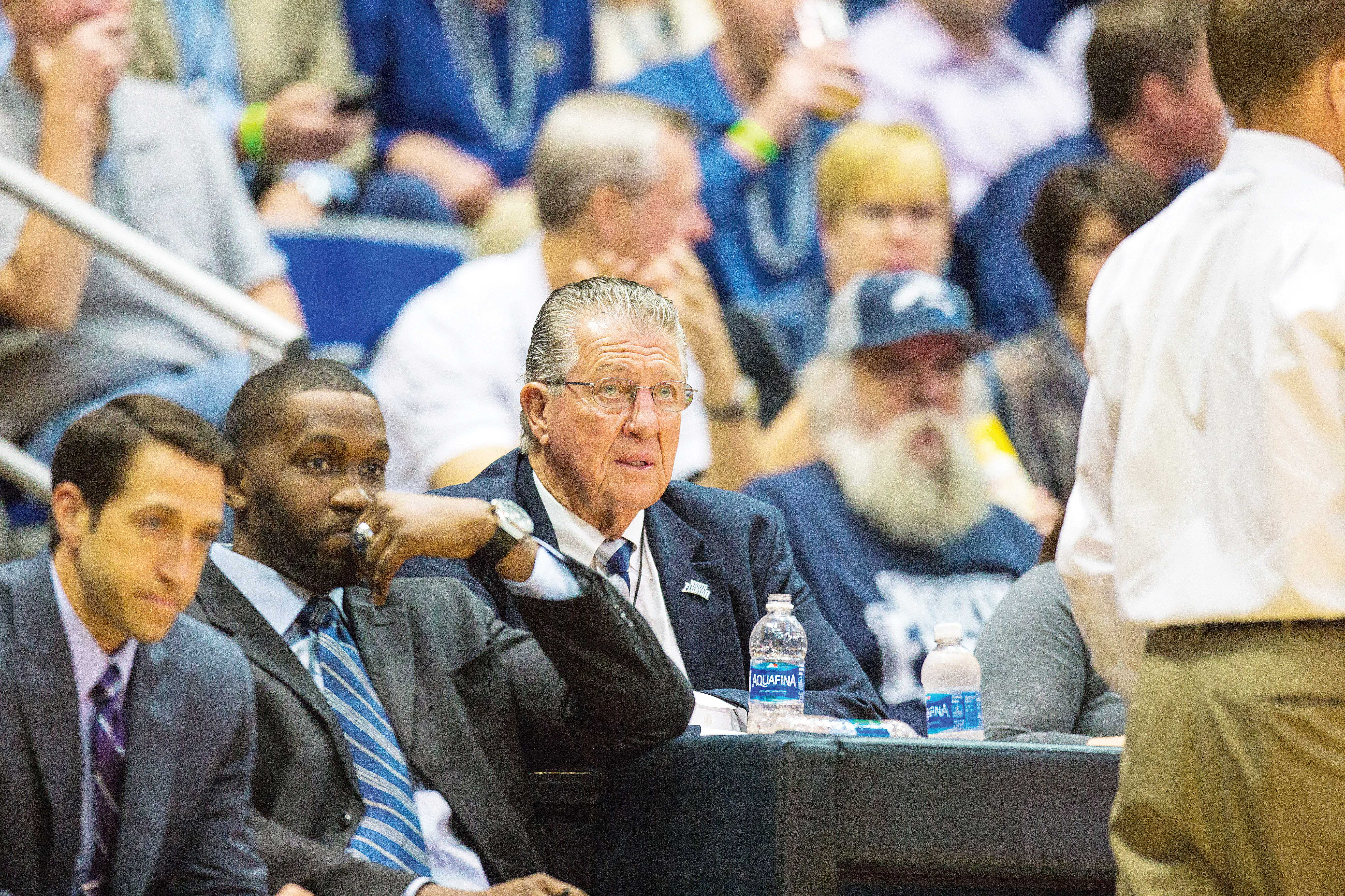 Coach Moon watches as the Osprey's play in the Atlantic Sun Conference Tournament. <i>Photo by Connor Spielmaker</i>