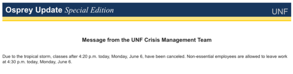 Email alert cancelling Monday evening classes.