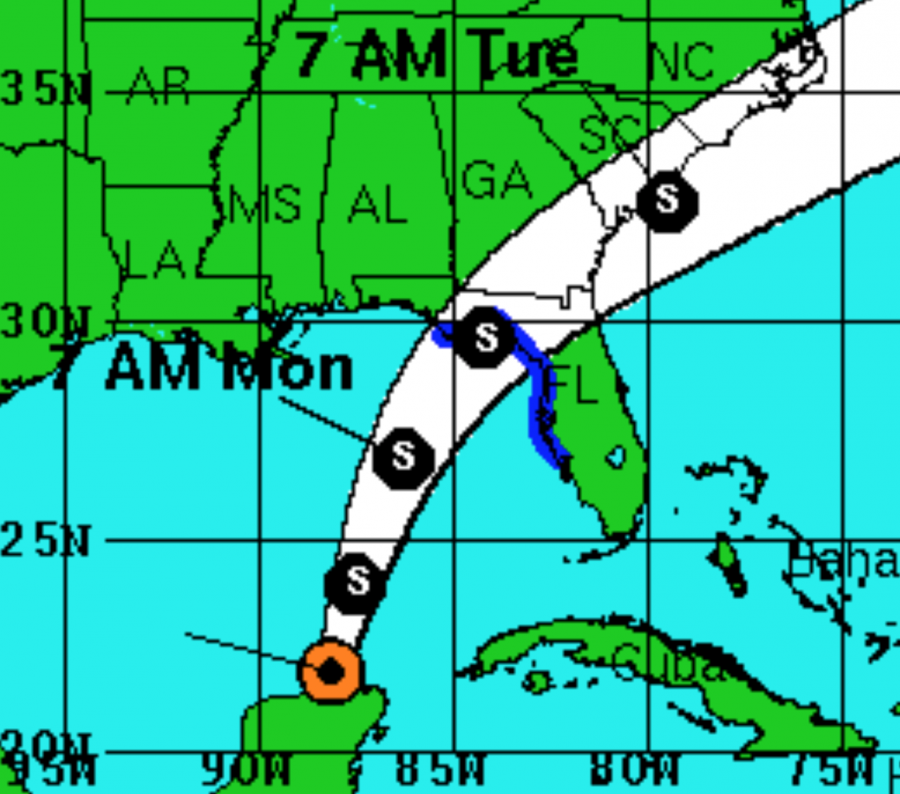 Tropical Depression 3s projected path and landfall. Graphic courtesy of the NHC.