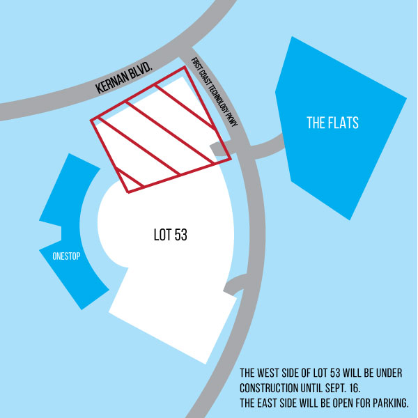 The parking spaces noted above will be inaccessible until Sept. 16. Graphic by Cassidy Alexander