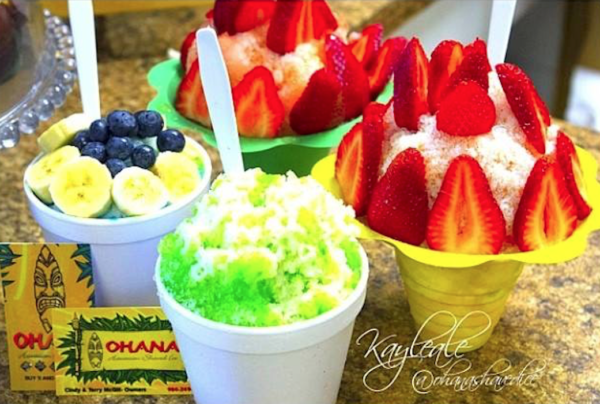 The variations of shaved ice that are available at Ohana's. Photo courtesy of Ohana Hawaiian Shaved Ice.