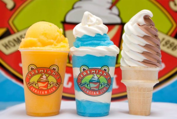 Mango ice, blue raspberry and vanilla gelati, and a vanilla and chocolate custard cone. Photo courtesy of Jeremiah's Italian Ice.