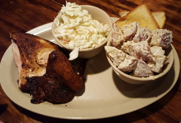 The smoke-house chicken platter features juicy chicken, Texas toast and customers' choice of two sides. Photo by Courtney Stringfellow.