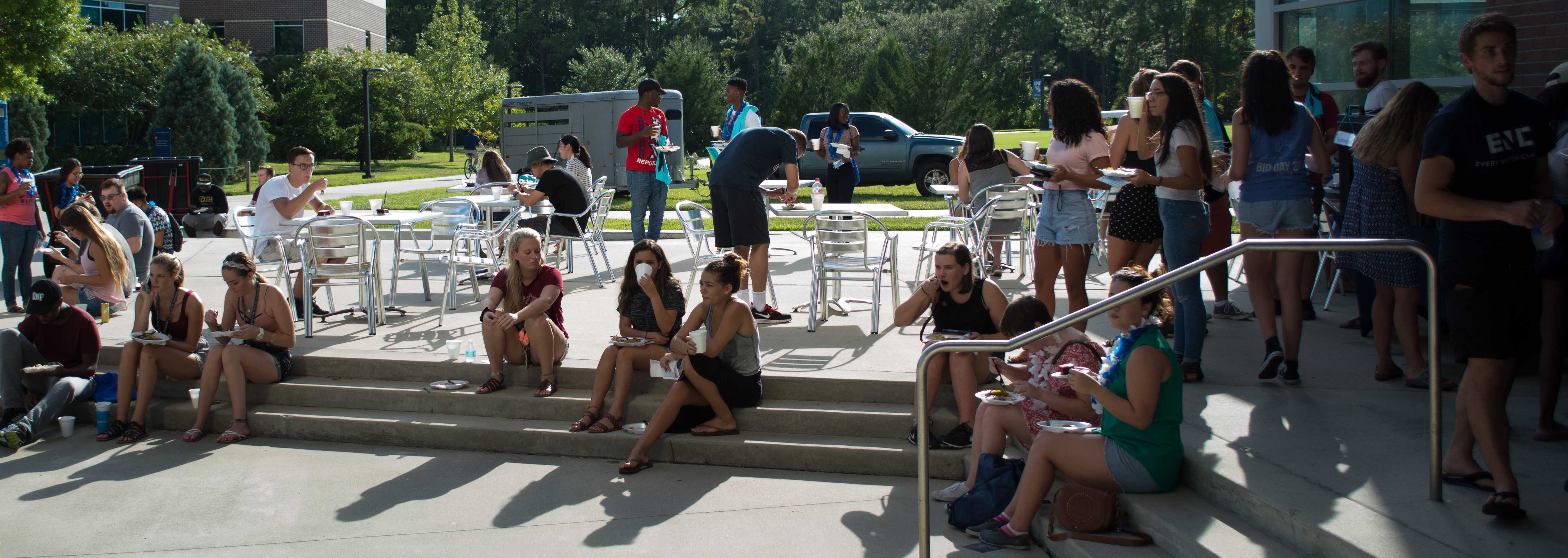 Students attended the Welcome to College Luau to learn what's going on around campus. <i>Photo by Lili Weinstein</i>