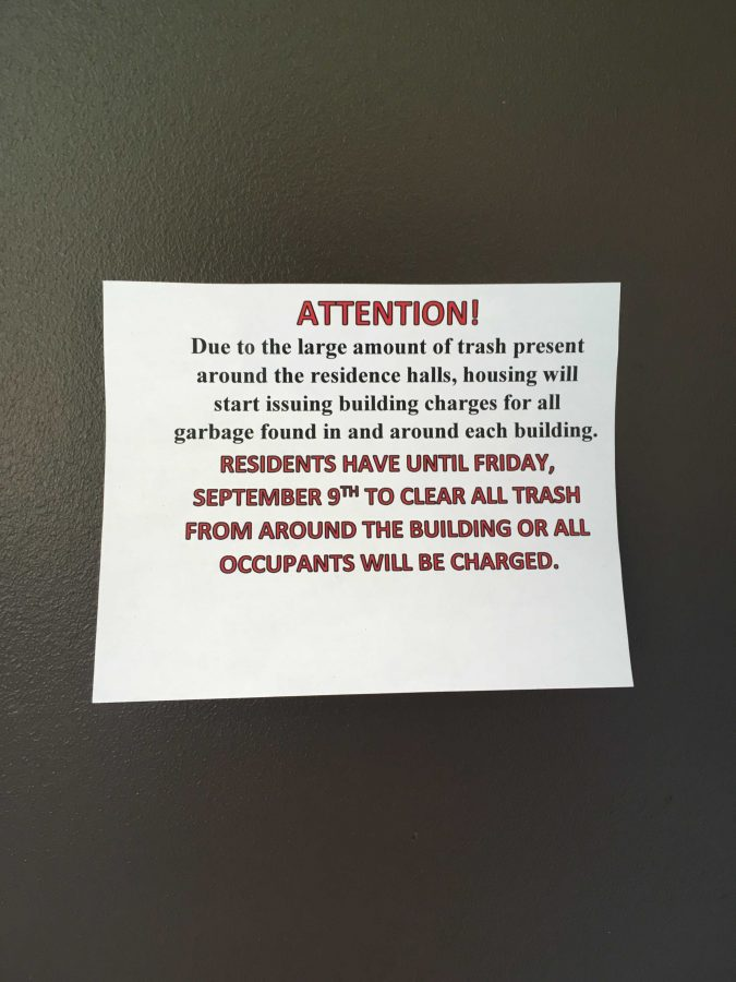 The notice that was posted on student's doors. Photo by Dianne Colley