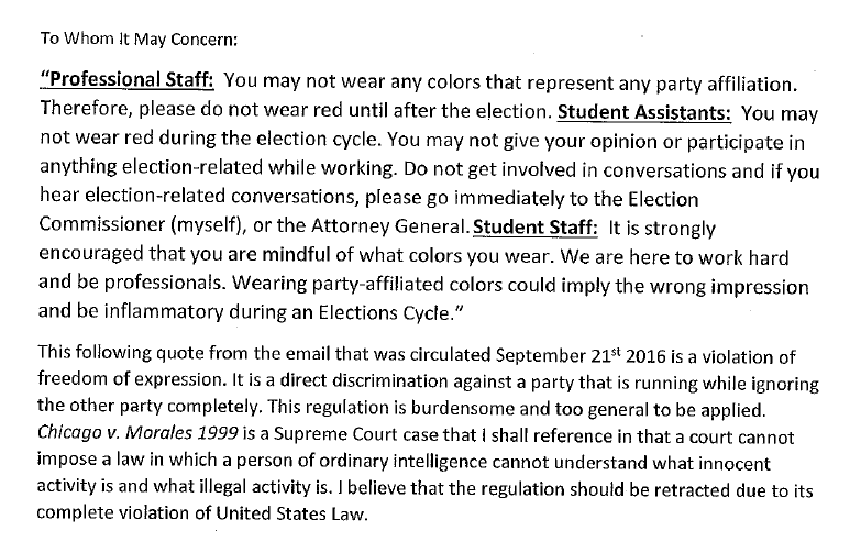 This election complaint details the email Sorrentino sent to members of SG.