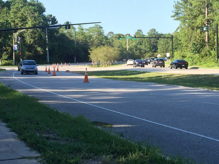 One lane on Kernan is closed for the foreseeable future. Photo by Will Weber